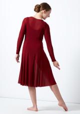 Vestido de baile lirico de manga larga para joven Dia Move Dance Rojo trasera. [Rojo]