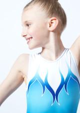 Maillot de gimnasia sin mangas estampado ombre azul para ninas Alegra frontal #2. [Azul]