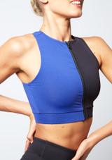 Top corto con cremallera delantera Move Dance Envision Negro-Azul lateral. [Negro-Azul]