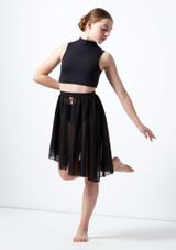 Media falda asimetrica de baile lirico para joven Erin Move Dance Negro frontal. [Negro]