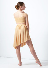 Media falda asimetrica de baile lirico para joven Erin Move Dance Marrón Claro trasera. [Marrón Claro]