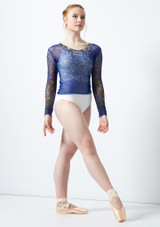 Top estampado de manga larga Ballet Rosa Azul frontal #3. [Azul]