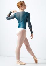 Top estampado de manga larga Ballet Rosa Azul trasera. [Azul]