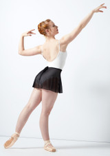 Falda cruzada de malla y parra Ballet Rosa Negro trasera. [Negro]