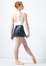 Falda cruzada de malla elastica estampada Ballet Rosa Negro trasera. [Negro]