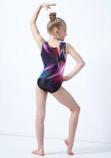 Maillot de gimnasia sin mangas con estampado de luces para ninas Alegra Gris trasera. [Gris]