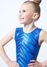 Maillot de gimnasia sin mangas Bengala para ninas Alegra Azul frontal #2. [Azul]