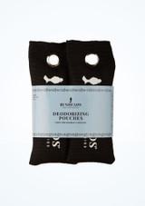 Bolsas desodorantes Capezio Paquete de 2 Negro frontal. [Negro]