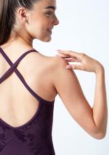 Maillot espalda abierta y malla Floriade para joven Bloch Púrpura Oscuro Detalle trasero-1 [Púrpura Oscuro]