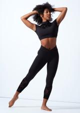 Leggings de baile con malla Floriade Bloch Negro  Delante-1 [Negro ]