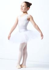 Tutú de ensayo sin cordones para niñas Alegra Blanco  Delante-1 [Blanco ]