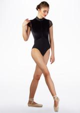 Maillot con terciopelo Ballet Rosa Negro frontal. [Negro]