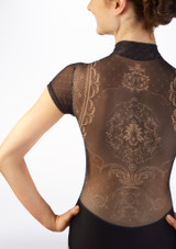 Maillot con terciopelo Ballet Rosa Negro trasera #2. [Negro]