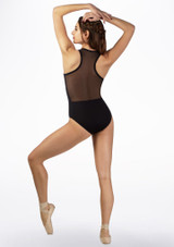 Maillot Ballet con Malla y Cremallera Basilica Negro trasera. [Negro]