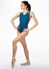 Maillot Ballet Geometrico con Espalda de Nadador Azul frontal. [Azul]