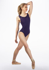 Maillot Ballet sin Mangas y Inserciones de Encaje So Danca Azul frontal. [Azul]