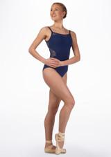 Maillot con nudo trasero y encaje Juliet Mirella Azul frontal. [Azul]