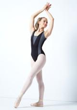 Maillot Ballet con Espalda Descubierta sin Mangas Esrah Bloch Rosa frontal. [Negro]