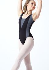 Maillot Ballet con Espalda Descubierta sin Mangas Esrah Bloch Negro frontal. [Marrón]