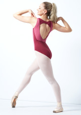 Maillot Ballet con Espalda Descubierta sin Mangas Esrah Bloch Marrón frontal. [Rosa]