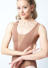 Maillot Ballet con Espalda Descubierta sin Mangas Esrah Bloch Rosa trasera. [Marrón]