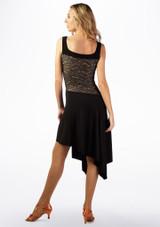 Vestido de Baile con Capas de Encaje So Danca Negro-Marrón Claro trasera. [Negro-Carne]