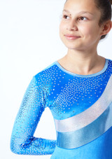 Tappers & Pointers GYM31 Gymnastics Leotard Blue Close up front-1 [Blue]