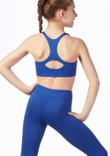 Top sujetador con espalda de nadador Bloch Azul frontal. [Azul]