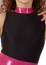 Top Danza Corto Nina sin Mangas Alegra Fuse Negro-Rosa frontal #2. [Negro-Rosa]