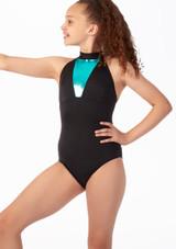 Maillot Ballet Nina con Cuello Alto Alegra Fuse Azul frontal. [Azul]