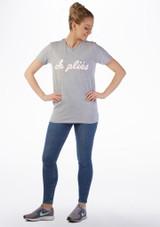Camiseta de danza Plie Kelham Gris frontal. [Gris]