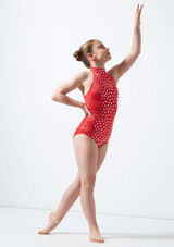 Maillot Ballet Nina Estampado Metalizado Nola Alegra Rojo frontal #2. [Rojo]