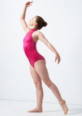 Maillot Ballet Nina Estampado Metalizado Nola Alegra Rosa frontal. [Rosa]
