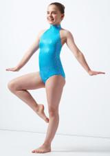 Maillot Ballet Nina Estampado Metalizado Nola Alegra Azul frontal. [Azul]