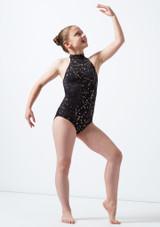 Maillot Ballet Nina Estampado Metalizado Nola Alegra Negro frontal. [Negro]