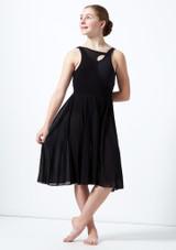 Vestido de baile lirico con aperturas para joven Titania Move Dance Negro frontal. [Negro]