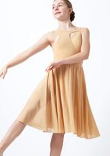Vestido de baile lirico con aperturas para joven Titania Move Dance Marrón Claro frontal. [Marrón Claro]