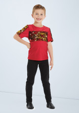 Weissman Boys Two Way Sequin Shirt Rojo trasera. [Rojo]