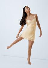 Weissman Velvet Slip Dress With Lace Blanco frontal. [Blanco]