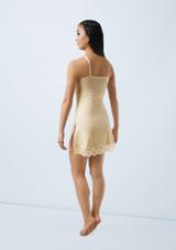 Weissman Velvet Slip Dress With Lace Blanco trasera. [Blanco]