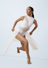 Weissman Laser Cut Dress Blanco frontal. [Blanco]