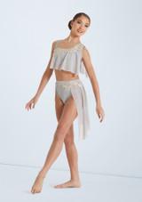 Weissman Asymmetrical Bra Top and Skirt Gris frontal. [Gris]