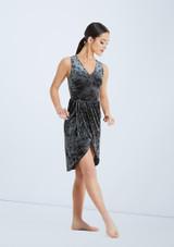 Weissman Velvet Wrap Dress Gris frontal. [Gris]