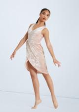 Weissman Velvet Wrap Dress Rosa frontal. [Rosa]