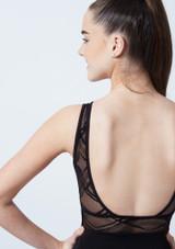 Maillot con espalda abierta y malla Arlequin para joven So Danca Negro trasera #2. [Negro]