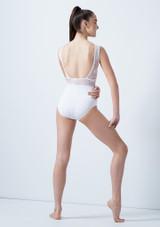 Maillot con espalda abierta y malla Arlequin para joven So Danca Blanco trasera. [Blanco]