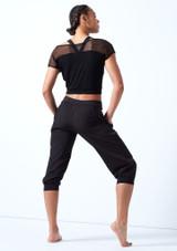 Camiseta de baile con malla y logotipo Bloch Negro trasera. [Negro]