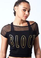 Camiseta de baile con malla y logotipo Bloch Negro frontal #2. [Negro]