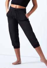 Pantalones cortos perforados para joven Bloch Negro frontal. [Negro]