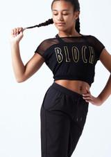 Camiseta de baile con malla y logotipo Bloch para joven Negro frontal. [Negro]